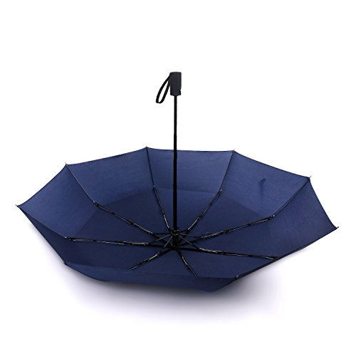 45 Inch Automatic Open Travel Umbrella/Windproof Waterproof 8 Ribs Super Strong Fast Drying Teflon Canopy Umbrella(Black) BY FUELUS