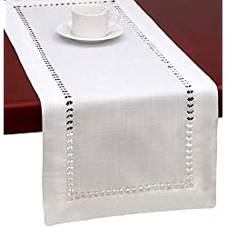 Handmade Hemstitched Natural Rectangle White Lace Table Runners (14x48 inch)