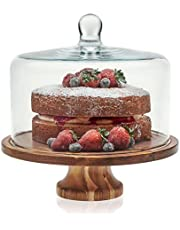 Libbey Acaciawood Footed Round Wood Server Cake Stand with Glass Dome
