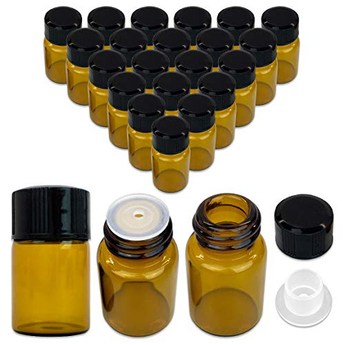 24 Packs Beauticom 2ML Amber Glass Vial for Essential Oils, Aromatherapy, Fragrance, Serums, Spritzes, with Orifice Reducer and Dropper Top