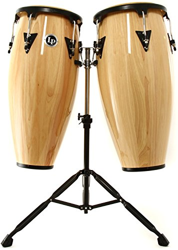 Latin Percussion Aspire Conga Set with Bongos and Stand - Natural
