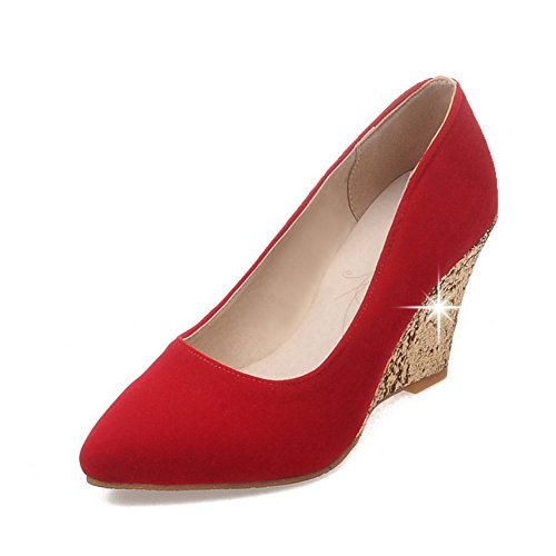 Heel Leather Shoes BalaMasa Pumps Red Thick Color Color Thick Matching Heel Womens Bottom Bottom Imitated Matching q7nX67fwx