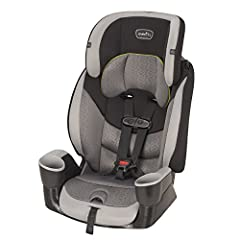The Evenflo Maestro offers two modes of forward-facing use. Accommodating children 22-110 lbs, stage one has a 5-point harness for children at least 2 years old, and stage two allows you to use the vehicle belt as a high back booster for child...