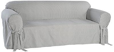 Classic Slipcovers BT20RAST Stripe Twill Loveseat Slipcover