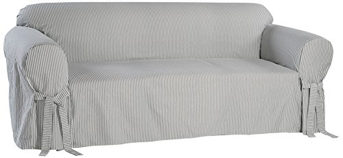 (Classic Slipcovers BT20RAST Stripe Twill Loveseat Slipcover, Navy/White)