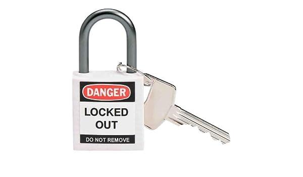 Brady 143162, Compact candado de seguridad, color blanco (Pack de 12 unidades): Amazon.es: Amazon.es