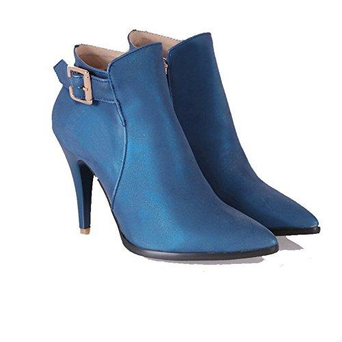 AgooLar Damen Rund Zehe Hoher Absatz Reißverschluss Stiefel, See Blau-Reißverschluss, 39