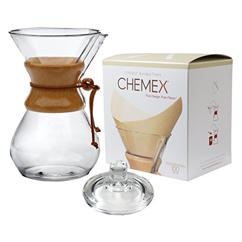 Chemex 10-Cup Classic Glass Coffee Maker, Glass Cover & FSU-100 Natural Bonded Pre-folded Squares Coffee Filters (100 Filters) Set with Free FOXGALLERY Coffee Guide ... (Lab Glass Coffee Maker)