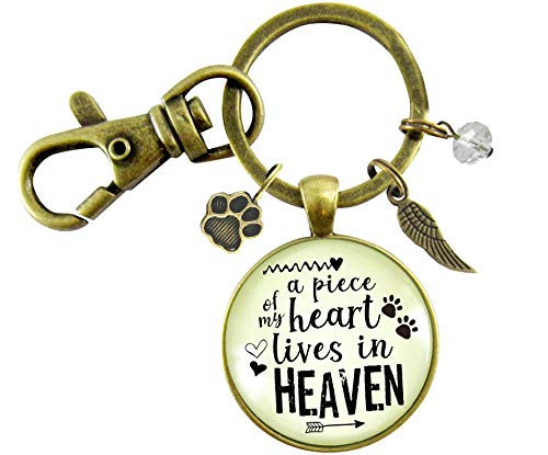 Pet Memorial Keychain A Piece Of My Heart Gift Angel Wing Paw Charm Cat Dog Remembrance Jewelry For Women (Angel Charm Pet)