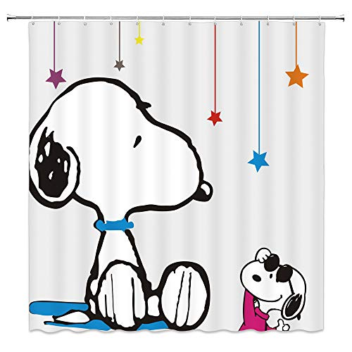 BCNEW Cartoon Dog Shower Curtain Decor Cartoon Dog Bathroom Curtain Decor 70 x 70 Inches Waterproof Mildew Resistant Polyester Fabric Machine Washable with 12pcs Hooks (Multi 7911W) ()