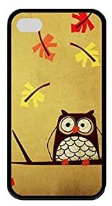 Soft Black TPU Protective Case Cover for iPhone 4 4S,Cute Owl Case Shell for iPhone 4 4S