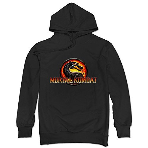 TIKE Men's Mortal Kombat Jurassic Style Hoodie Sweatshirt Color Black Size XL