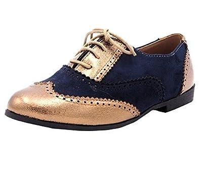 051fcc1233280 SHU CRAZY Womens Ladies Flat Lace Up Vintage Brogue Office Work Fashion Pumps  Shoes - G33