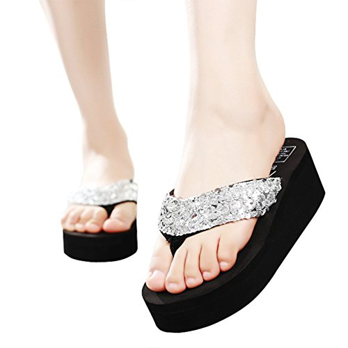 Sparkle Thongs Sandals Women Walking on Flip Silvery Heels Flops Glitter High Slip Bohemian Wedge Sequins 58zqOwfnx