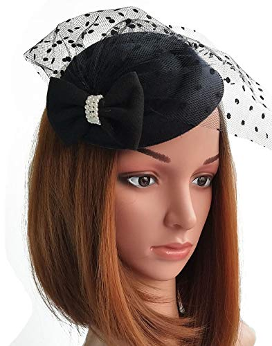 Coolwife Fascinator Hats Pillbox Hat British Bowler Hat Flower Veil Wedding Hat Tea Party Hat (Z Black)]()