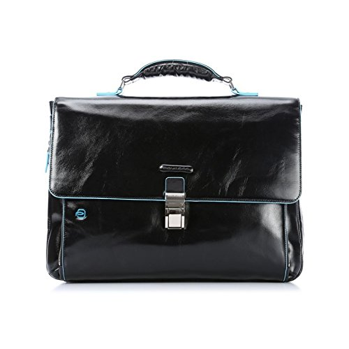 Piquadro Expandable Computer Portfolio Briefcase with Compartment, Black, One Size by Piquadro