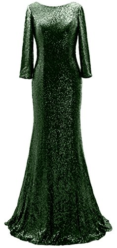 Sequin Sleeves 3 Gown Mother Dress the 4 Long Elegant Evening of MACloth Dunkelgrun Bride qEtg4xq