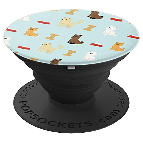 Cute Dog Bones And Cat Kitty Lover Pattern On Black - PopSockets Grip and Stand for Phones and Tablets -