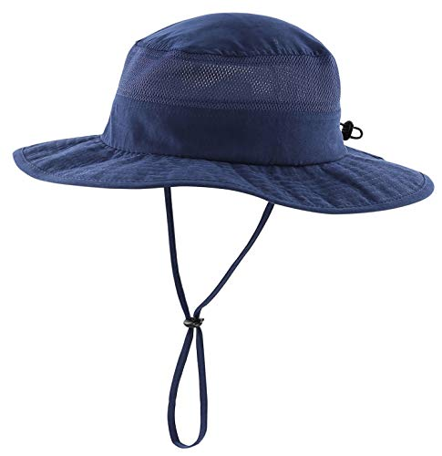 Home Prefer Men's Sun Hat UPF 50+ Wide Brim Bucket Hat Windproof Fishing Hats (M Navy Blue)