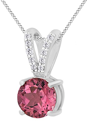 AFFY Round Shape Simulated Pink Tourmaline With Natural Diamond Solitaire Pendant Necklace In 10K Solid White Gold