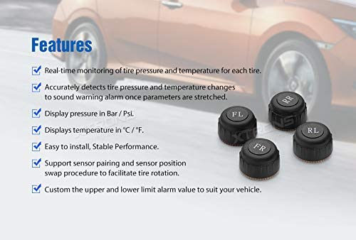 XTRONS Car TPMS Tire Pressure Monitoring Alarm System For XTRONS Android 9.0 PS//PST Series Auto Radio Head Unit