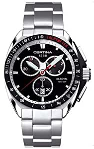 Certina DS Royal C010.417.11.051.00 - Reloj cronógrafo de cuarzo para hombre, correa de acero inoxidable color plateado (cronómetro)