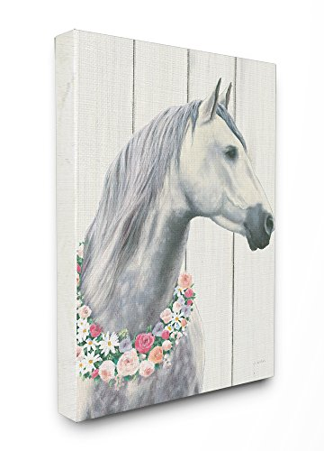 Spirit Canvas Art - The Stupell Home Decor Collection Stupell Industries Spirit Stallion Horse With Flower Wreath Stretched Canvas Wall Art, Proudly Made in USA