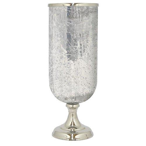 Benzara HRT-28563 Glass 21.5'' Hurricane With Nickel by Benzara