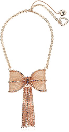 Gold Tone Mesh Bow (Betsey Johnson Women's Large Mesh Crystal Bow Fringe Frontal Necklace)