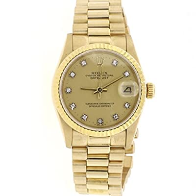 Rolex President Datejust Midsize 18K Yellow Gold 31MM Factory Champagne Diamond Dial Watch 68278 (Certified Pre-owned) from Rolex