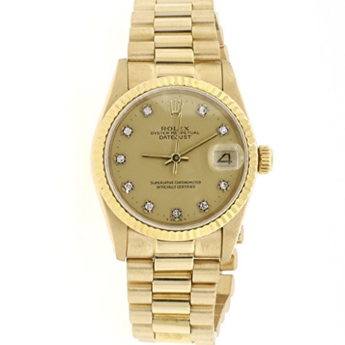 Rolex President Datejust Midsize 18K Yellow Gold 31MM Factory Champagne Diamond Dial Watch 68278 (Certified Pre-owned) (Gold Dial Champagne President)