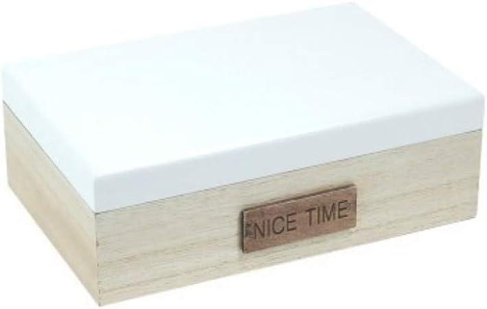 CAPRILO Caja Decorativa de Madera Nice Time. Cajas Multiusos. Joyeros. Regalos Originales. Decoración Hogar. 6.5 x 19 x 12.5 cm.: Amazon.es: Hogar