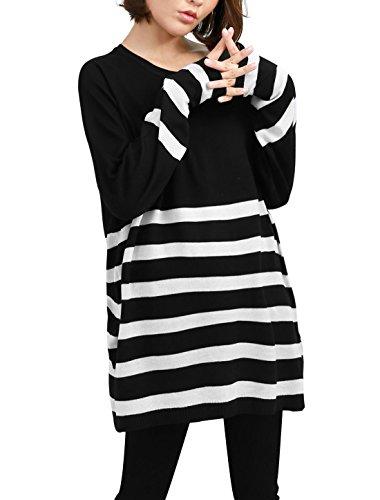 sourcingmap® Femmes Rayures Côtelé Tricot Hiver Sweatshirt Blanches Noires M - Noir, Femme, S (EU 36)
