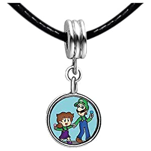 Chicforest Silver Plated daughter and Dad Father's Day Photo Emerald Green Crystal May Birthstone Flower dangle Charm Beads Fits Pandora Charm