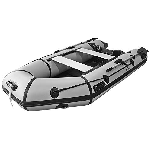 Outroad Inflatable Dinghy Fishing Boat 10 FT, Sport Tender Raft Deep Bottom and Trolling Motor Transom, 4 Person Seats w/Two Paddles (Gray)