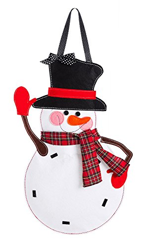 - Evergreen Flag Snowman Monogram Outdoor Safe Felt Door Decor