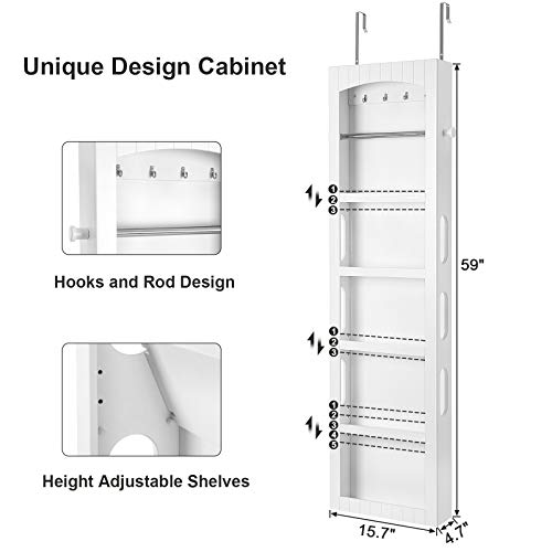 SONGMICS Bathroom Storage Cabinet, Door/Wall Mounted Save Floor Space, Adjustable Shelves White UBBC74WT by SONGMICS (Image #3)