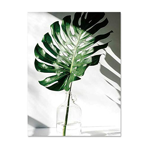 (Art Zone Nordic Canvas Painting Modern Prints Plant Leaf Art Posters Prints Green Art Wall Pictures Living Room Unframed Poster,50X70Cm No)
