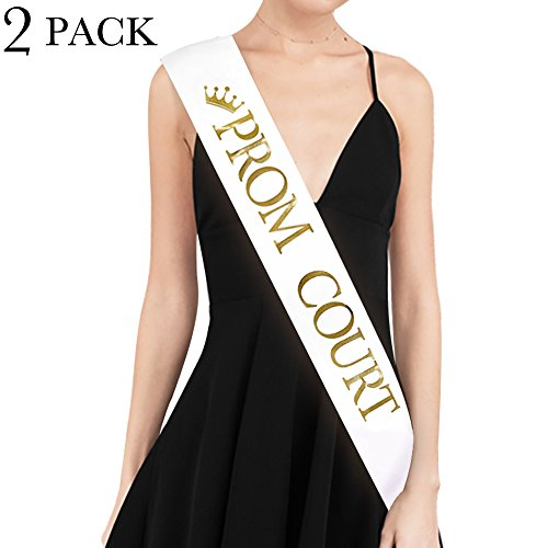 PROM COURT Sash - SET OF 2 - School Dance Graduation Party School Party Accessories, White with Gold Print - Prom Court Sashes