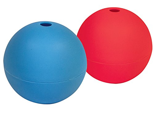 Better Kitchen Products Extra Large Ice Ball Maker Molds, Set of 2, Silicone, 6cm Round Ice Balls for Whiskey, Bourbon, Drinks, Blue and Red