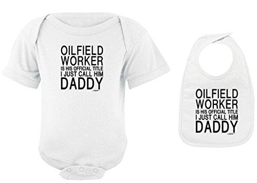 Baby Clothes Oilfield Worker Title I Call Him Daddy White Bodysuit and White Bib Bundle Newborn (Oil Wht)