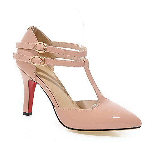 Solid Spikes Toe Patent Closed Leather apricot WeiPoot Pumps Shoes Buckle Stilettos Pointed Women's TzaqOOpw