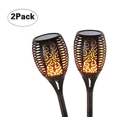 Menzee Solar Torch Flame Lights, 96 LED Solar Torch Light with Flickering Flame Waterproof Outdoor Lighting for Garden Patio Deck Yard Driveway (2 Pack)