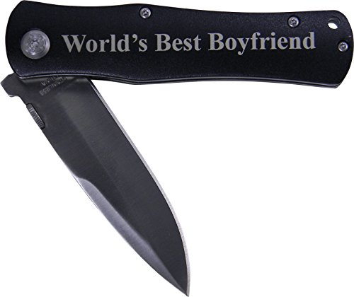 World#039s Best Boyfriend Folding Pocket Knife  Great Gift for Birthdayvalentines Day Anniversary or Christmas Gift for Boyfriend Bf Black Handle