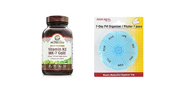 Amazon.com: La vitamina K2 MK-7, 100 mcg, 120 cápsulas con organizador de píldora de 7 días gratis: Health & Personal Care