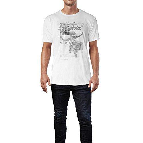 SINUS ART® The Restless Romeo Herren T-Shirts stilvolles weißes Fun Shirt mit tollen Aufdruck