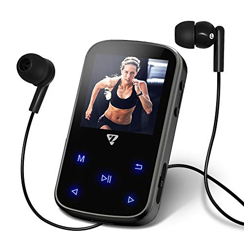8GB Clip MP3 Player with Bluetooth 4.2,1.5 inch Screen Touch Buttons Music Player for Sports,Portable with FM Radio,A Small Speaker and Hard Shell Carrying Case VZ SPORT MATE