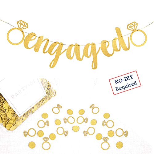 Engagement Party Decorations - Extra-Large Engaged Banner + 200 Glittering Gold Ring Confetti - Bridal Shower Sign & Bachelorette Party Favors - Bride to be Engagement Banner Backdrop Supplies Decor