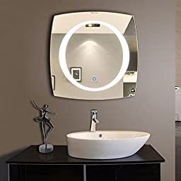 DECORAPORT 28 Inch 28 Inch Horizontal and Vertical LED Wall Mounted Lighted Vanity Bathroom Silvered Mirror with Touch Button (A-N006A)