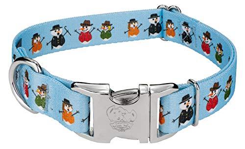 (Country Brook Petz | Caroling Snowmen Premium Dog Collar - Christmas Collection with 13 Designs (Large))